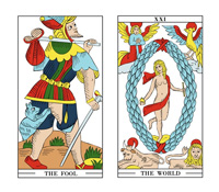 The Fool card and The World card