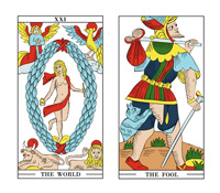 The World card and The Fool card